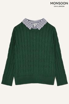 Monsoon Green Mock Collar Cable Knit Jumper