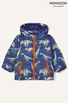 Monsoon Blue Dino Print Padded Coat