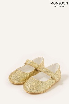Monsoon Gold Glitter Walker Shoes