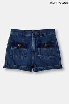 River Island Denim Medium Pocket Mom Shorts
