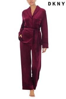 Donna Karan Purple Aubergine Plush Sleep Top and Pants Set