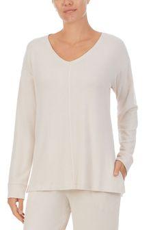 Donna Karan Cream Almond Marl Brushed Jersey Sleep Tunic