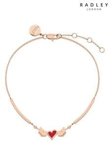 Radley Rose Gold and Red Enamel Heart Bracelet