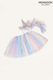 Monsoon Blue Rainbow Mane Unicorn Dress-Up Set