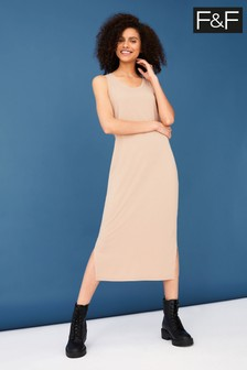 F&F Nude Rib Sleevless Midi Dress