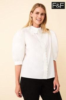F&F White Broderie Collar Shirt