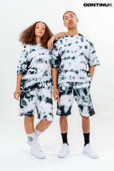 Continu8 Grey Tie Dye Jersey Shorts