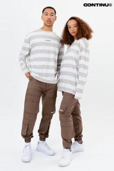 Continu8 Unisex Beige Stripe Long Sleeve T-Shirt