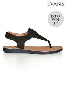 Evans Black Extra Wide Fit Lexie Slingback Sandals