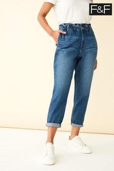 F&F Blue Indigo Comfort Mom Jeans