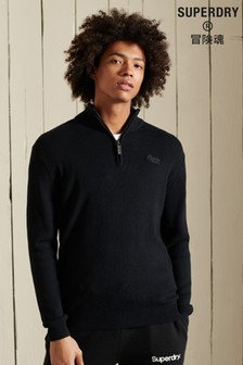 Superdry Organic Cotton Vintage Embroidered Henley Jumper