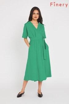 Finery Green Sabine Wrap Dress