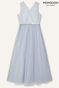 Monsoon Grey Sequin Lace Bodice Prom Dress