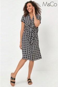 M&Co Black Square Print Shirt Dress
