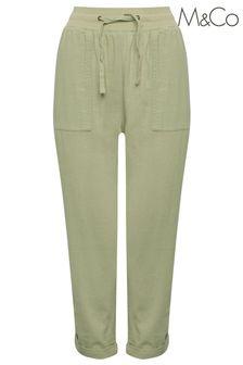 M&Co Green Linen Crop Trousers