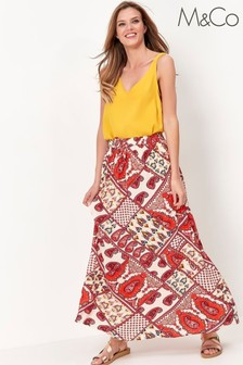 M&Co Ivory/Red Patterned Maxi Skirt