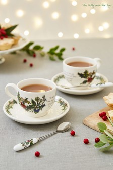 Set of 6 Portmeirion Holly & Ivy Tea Cups & Saucers