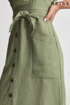 REISS Green Emma Linen Blend Midi Dress