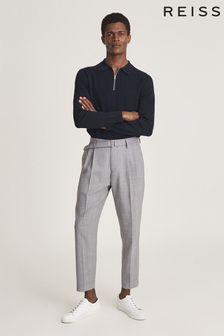 Reiss Adams Textured Zip Neck Polo Shirt