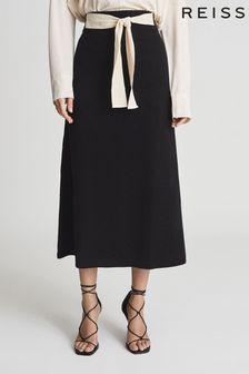 REISS Black Lyla Jersey Tie Detail Midi Skirt