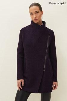 Phase Eight Purple Byanca Zip Knit Coat