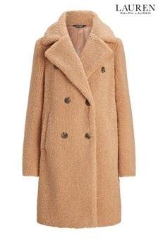 Lauren Ralph Lauren Womens Beige Teddy Fur Coat