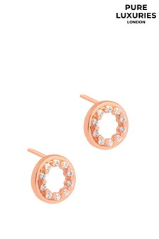 Pure Luxuries London Cezanne Rose Gold Plated Silver Circle Earrings