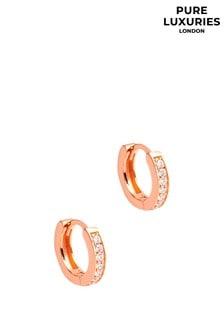 Pure Luxuries London Alison Rose Gold Plated Sterling Silver Hoop Earrings