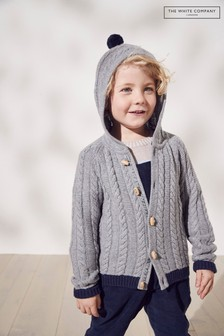 The White Company Cable Knit Hooded Cardigan