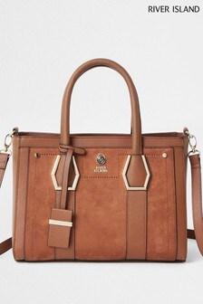 River Island Women's Brown Tote Bag