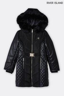 River Island Black PU Clara Puffer Jacket