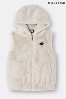 River Island Beige Hooded Faux Fur Gilet