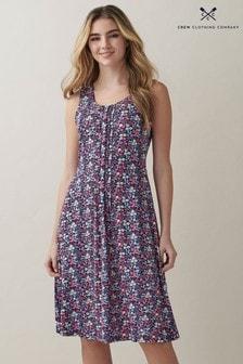Crew Clothing Company Pink Sleeveless Pleat Front Jersey Tea Dress