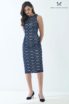 Crew Clothing Company Blue Lace Pencil Dress