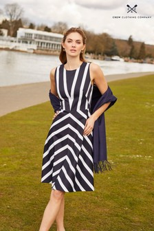 Crew Clothing Company Blue Stripe Fit And Flare Dress