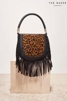 Ted Baker Pinyal Leopard Braided Handle Fringe Mini Hobo Bag