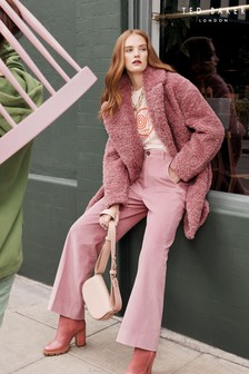 Ted Baker Kayyti Faux Fur Wide Collar Cocoon Coat