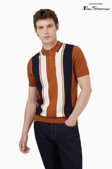 Ben Sherman Cream Caramel Mod Stripe Short Sleeve Polo