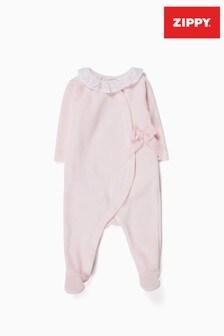 Zippy Newborn Pink Velvet Sleepsuit