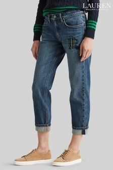 Lauren Ralph Lauren Blue Wash Relaxed Taper Boyfriend Jeans