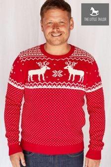 The Little Tailor Men's Red Christmas Reindeer Fairisle Jumper