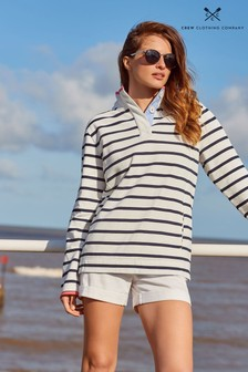 Crew Clothing Company White Padstow Pique Sweatshirt