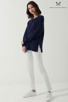 Crew Clothing Company Blue Camber Cable Jumper