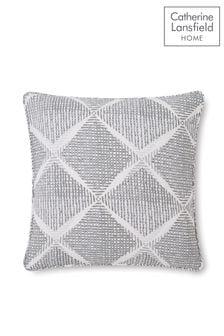 Catherine Lansfield Grey Textured Diamond Cushion
