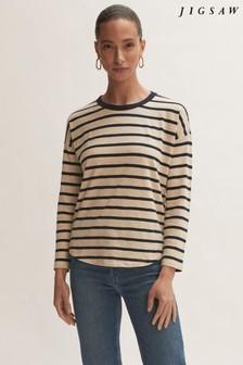 Jigsaw Natural/Blue Cotton Breton Boyfriend T-Shirt