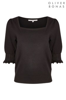 Oliver Bonas Black Square Neck Black Knitted Top