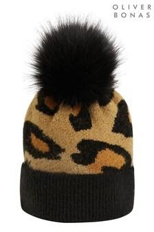 Oliver Bonas Black Animal Print Black Knitted Hat