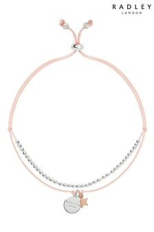 Radley Pink Cord Disc and Star Charm with Beads Bracelet