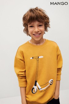 Mango Yellow Textured Cotton-Blend Sweatshirt