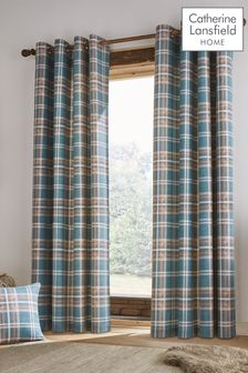 Catherine Lansfield Teal Tweed Woven Check Curtains